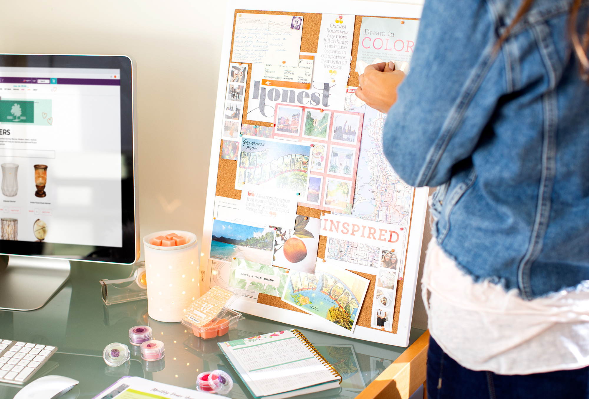 consultant pining photo on her inspiration board in her Scentsy home office