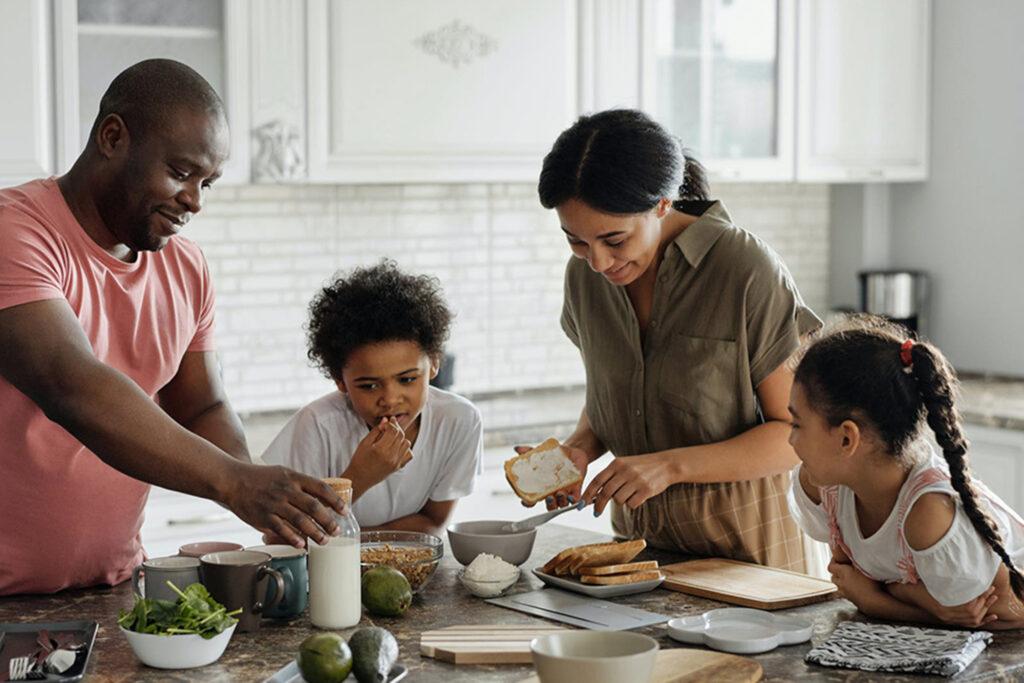 Family making dinner together