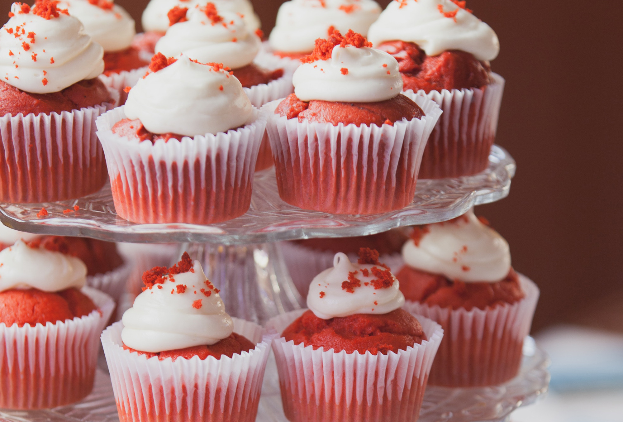 red velvet cupcakes a top a cupcake stand