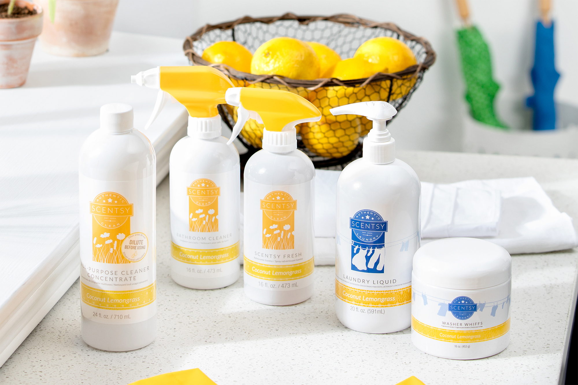Scentsy clean products in the scent Coconut Lemongrass