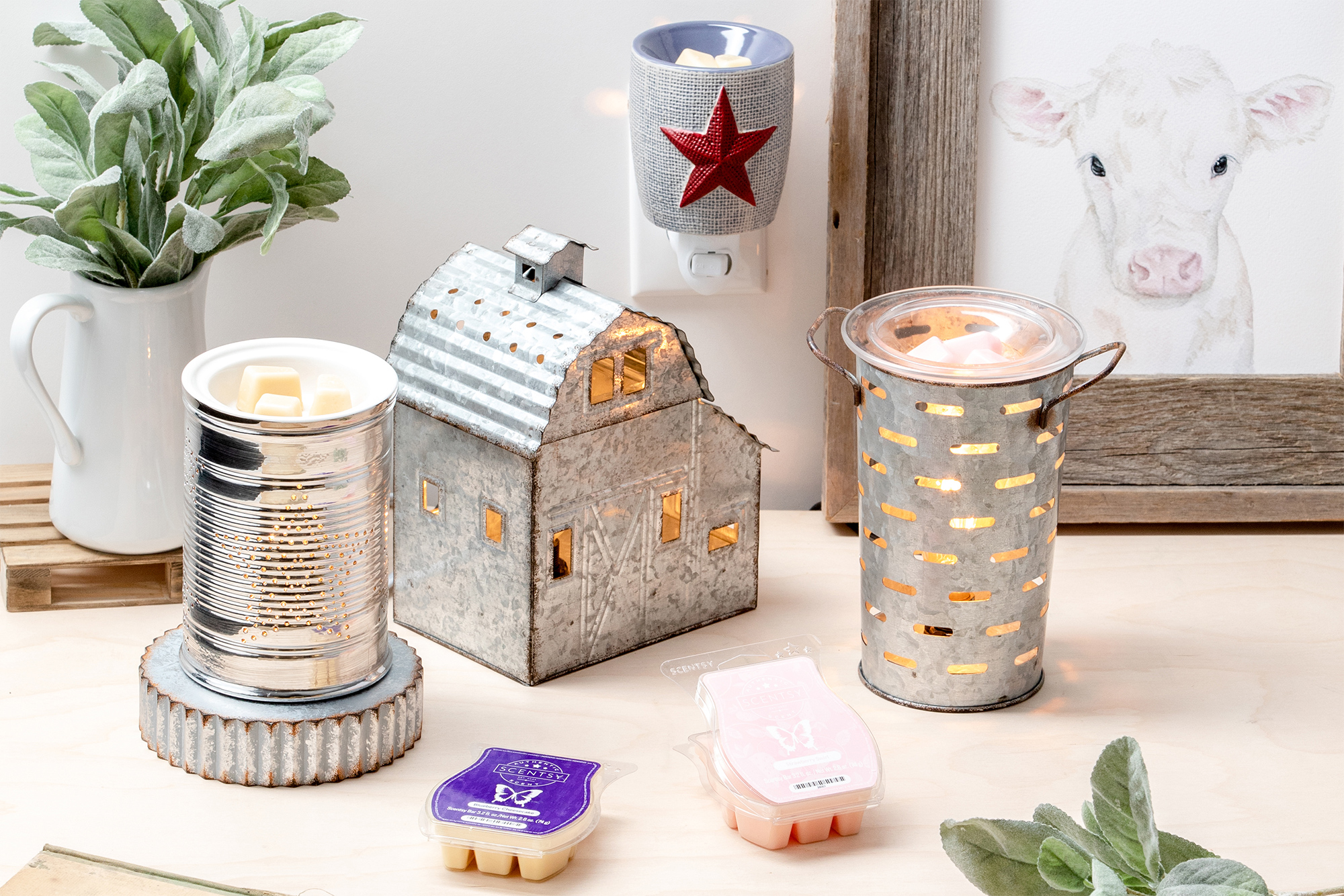 Scene of Scentsy tin warmers in a home