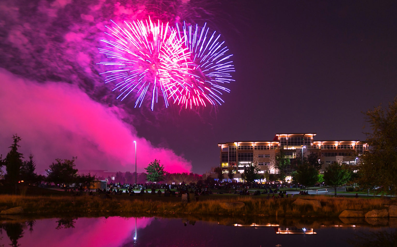 Beautiful fireworks exploding over the main Scentsy tower