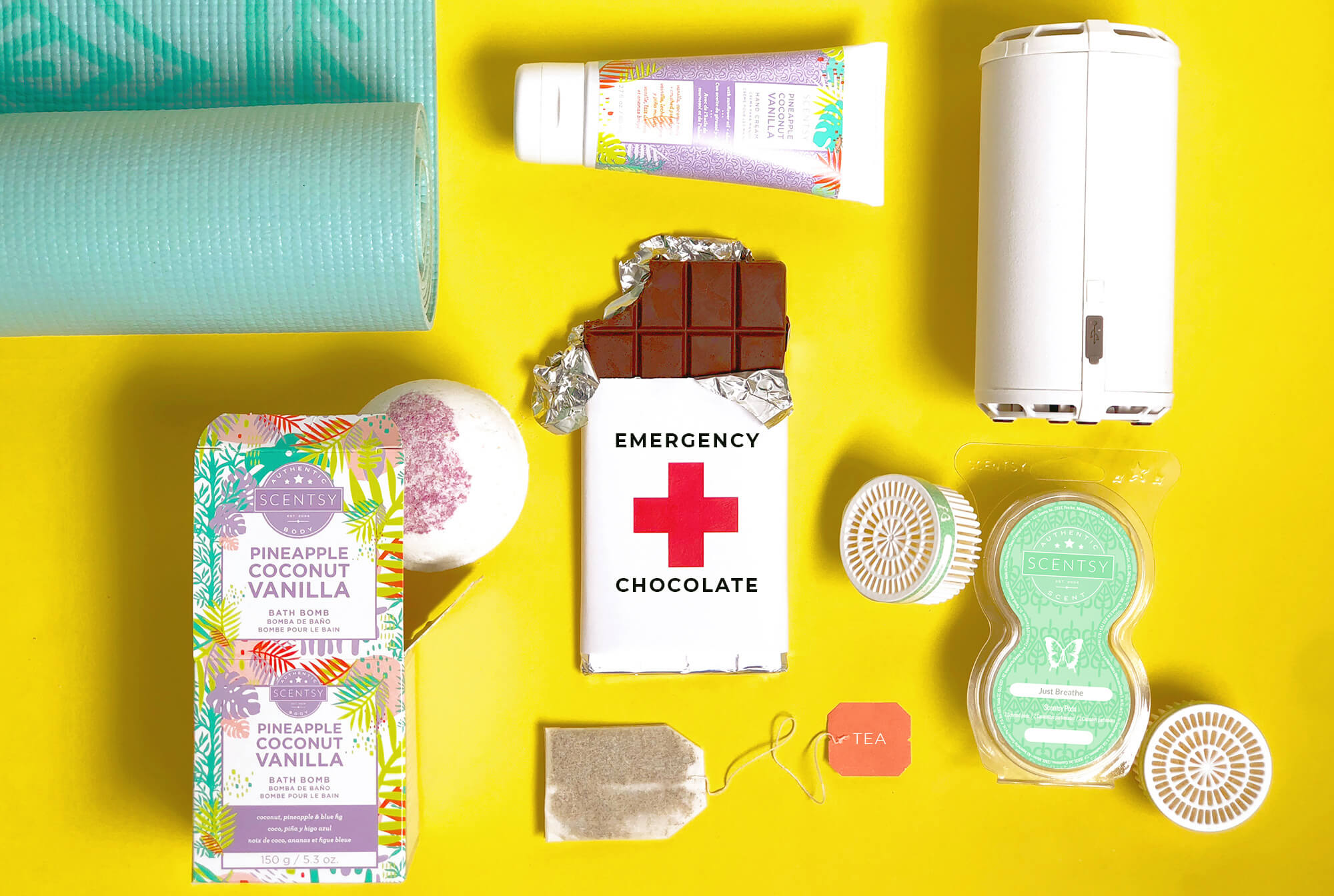 8/13 blog post featuring - Pineapple coconut vanilla bath bomb and body cream, Scentsy go white solid, and Scentsy pod just breath, emergency chocolate bar