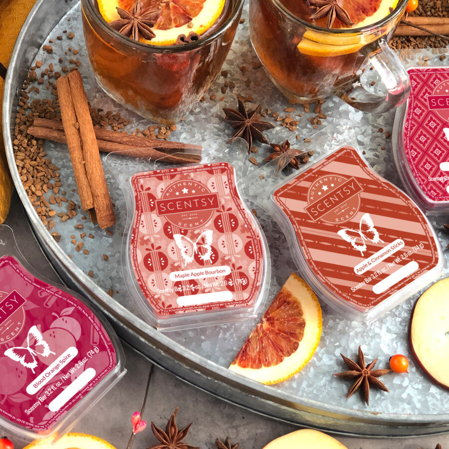 9-5 blog photoshoot featuring: Blood Orange Spice, Maple Apple Bourbon, Apple & Cinnamon Sticks, Cinnamon Bear