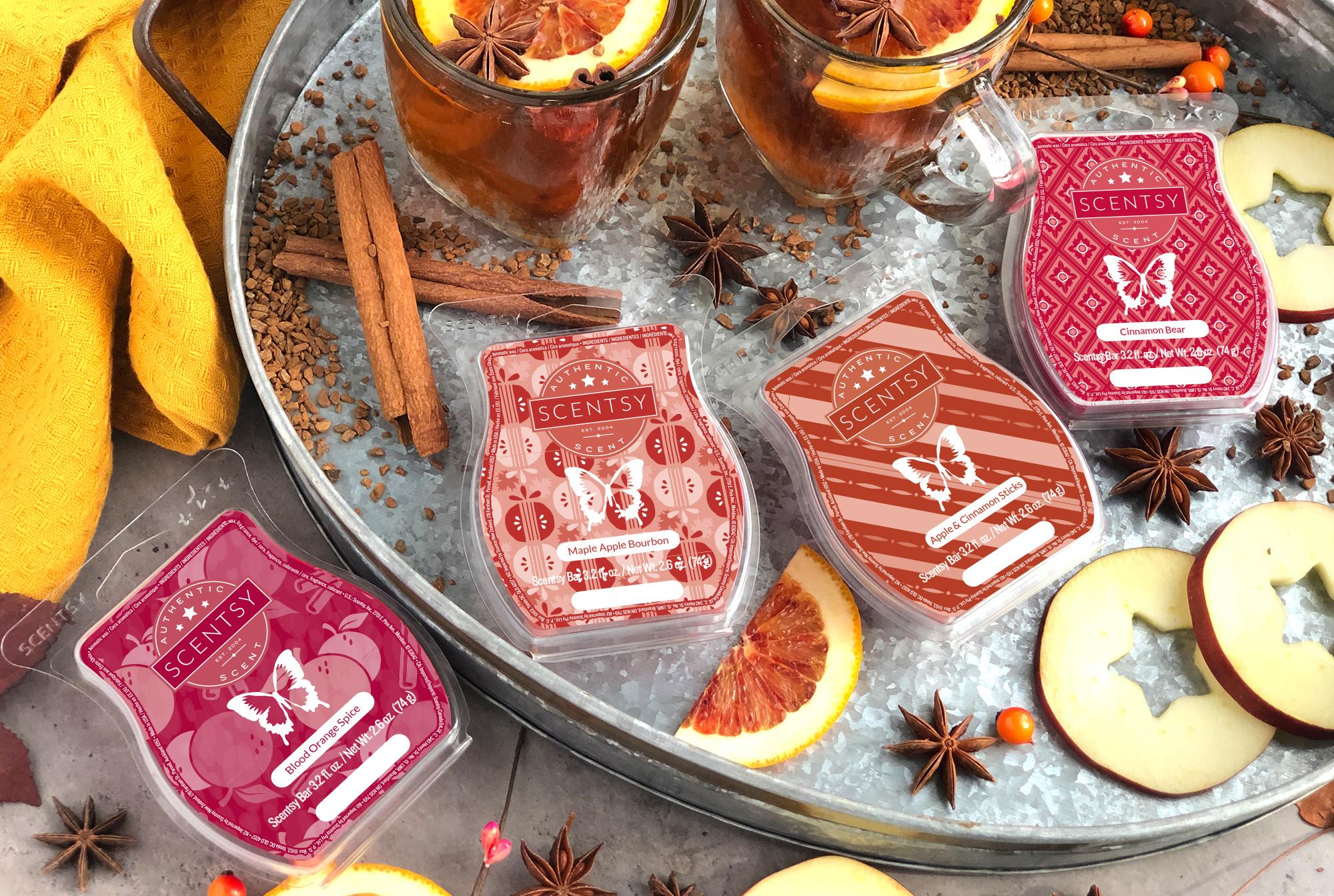 9-5 blog photoshoot featuring: Blood Orange Spice, Maple Apple Bourbon, Apple & Cinnamon Sticks, Cinnamon Bear