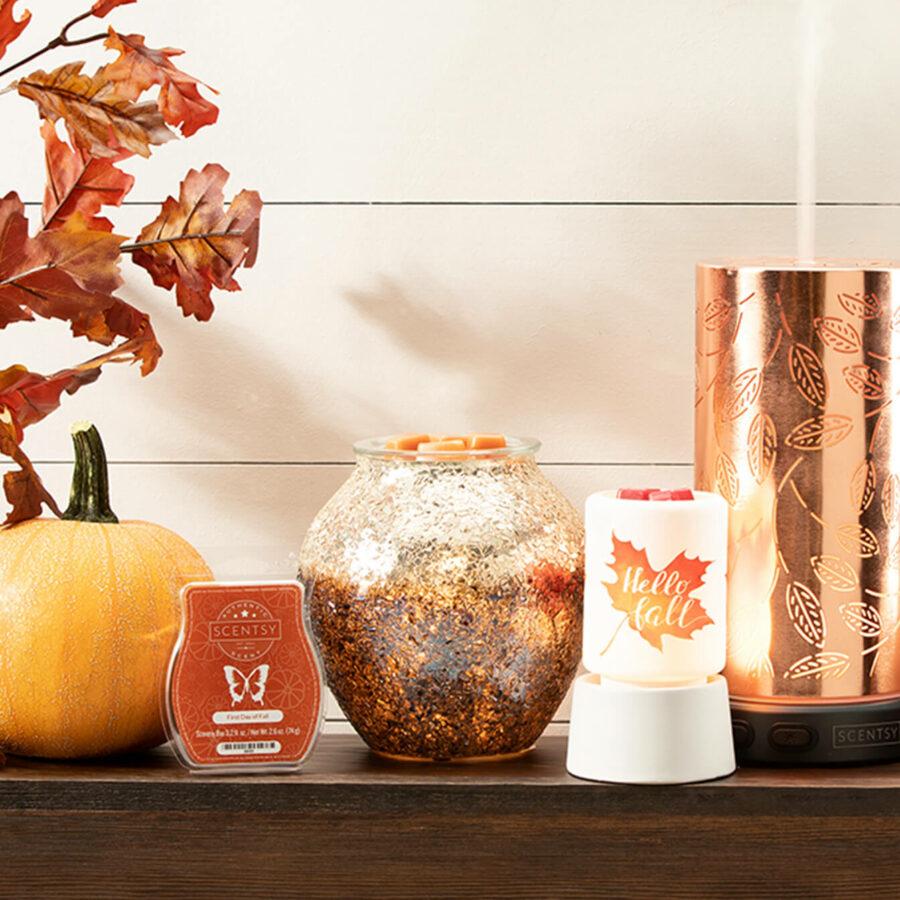 9-19 blog post photoshoot - Prosper diffuser, charred warmer, Hello Fall mini, First Day of Fall bar