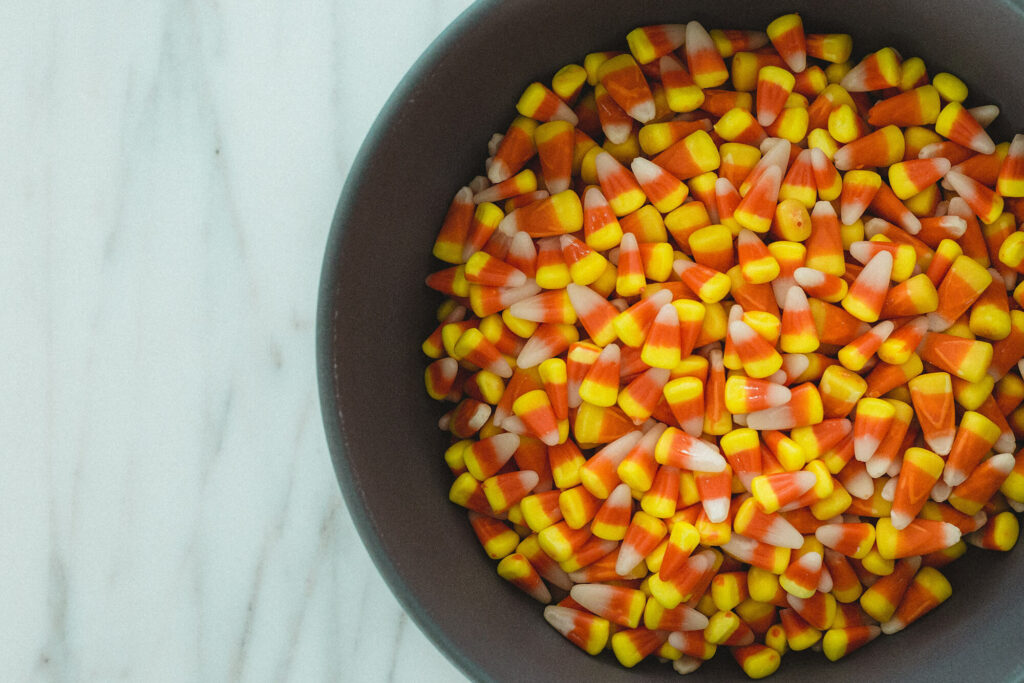 Bowl of candy corn on a counter top