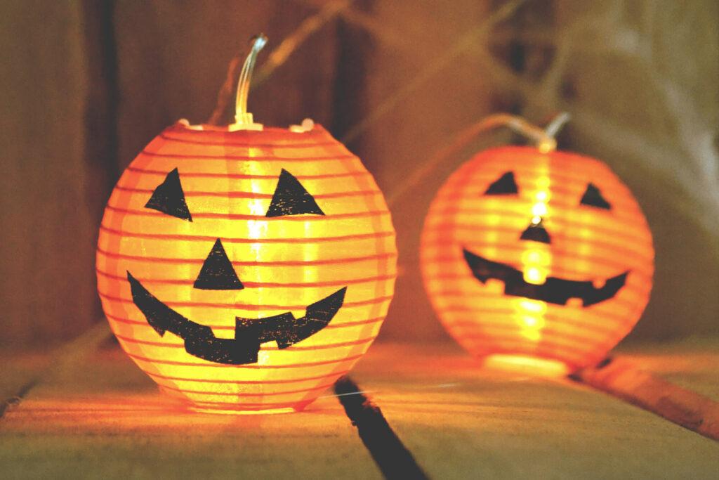 Glowing paper lantern jack-o-lanterns