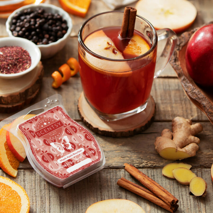 Scentsy Maple Apple Bourbon Bar surrounded by ingredients and wassail