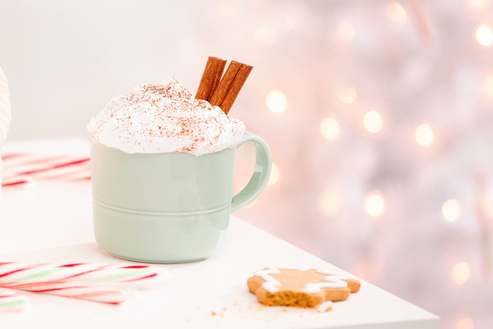 Hot chocolate in a ceramic mug with whipped cream and cinnamon sticks and a partially eaten gingerbread man