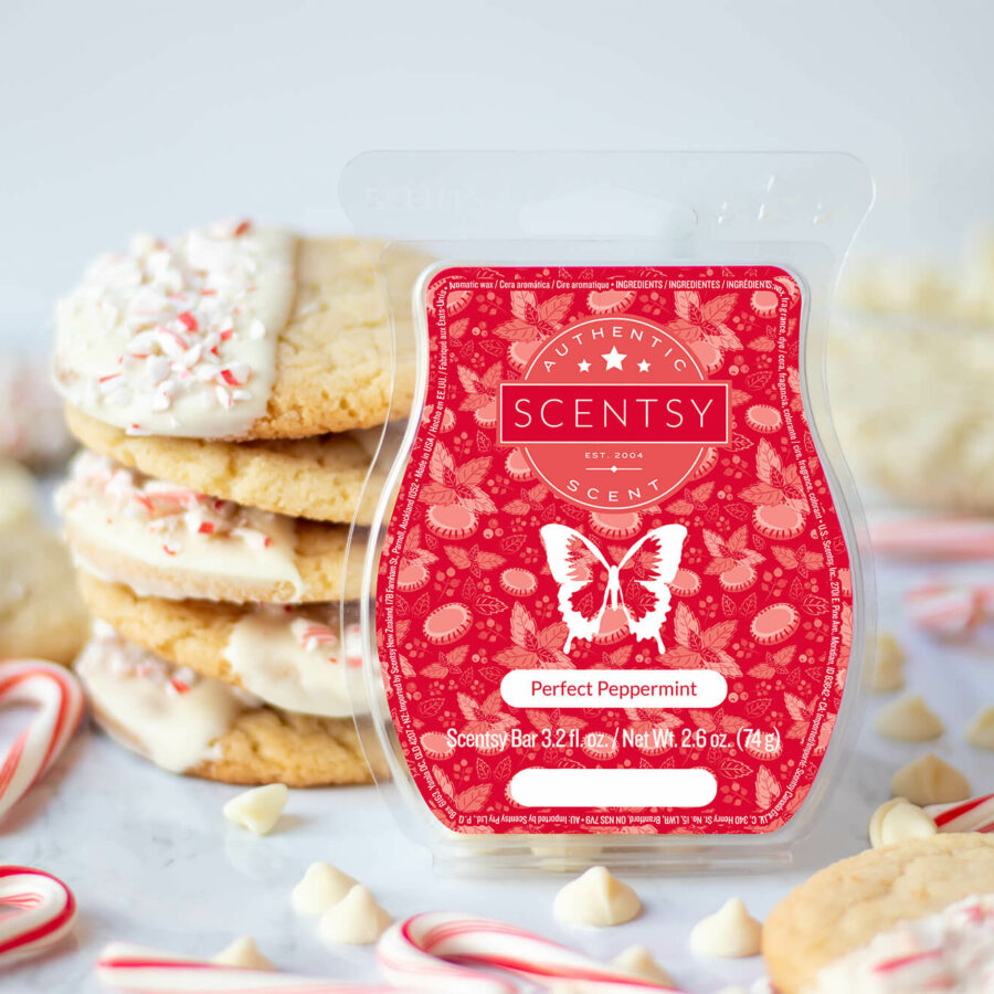 Perfect Peppermint Scentsy Bar alongside the finished peppermint cookies and small candy canes