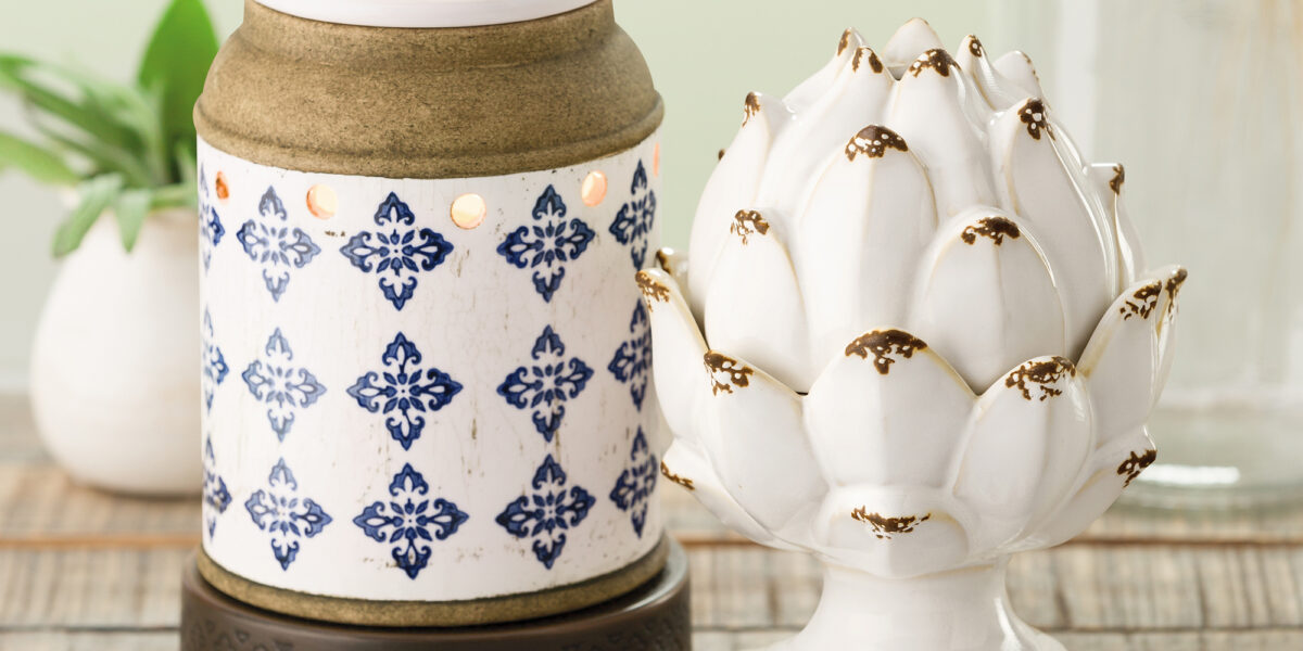Scentsy photo featuring the Peace & Prosperity warmer, Peoria Warmer, and the Stencil Warmer Stand