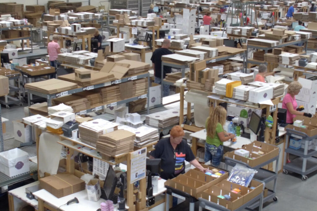 Birds eye view of the Scentsy warehouse