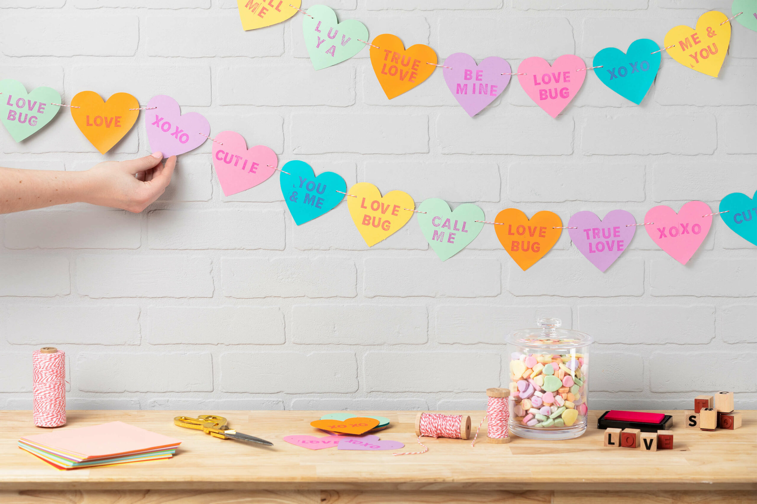 Fully completed DIY Candy Heart Garland