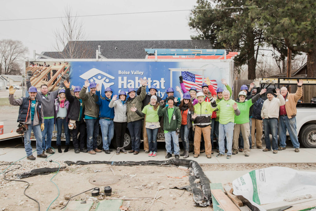 Scentsy employees group photo while volunteering for Habitat for Humanity