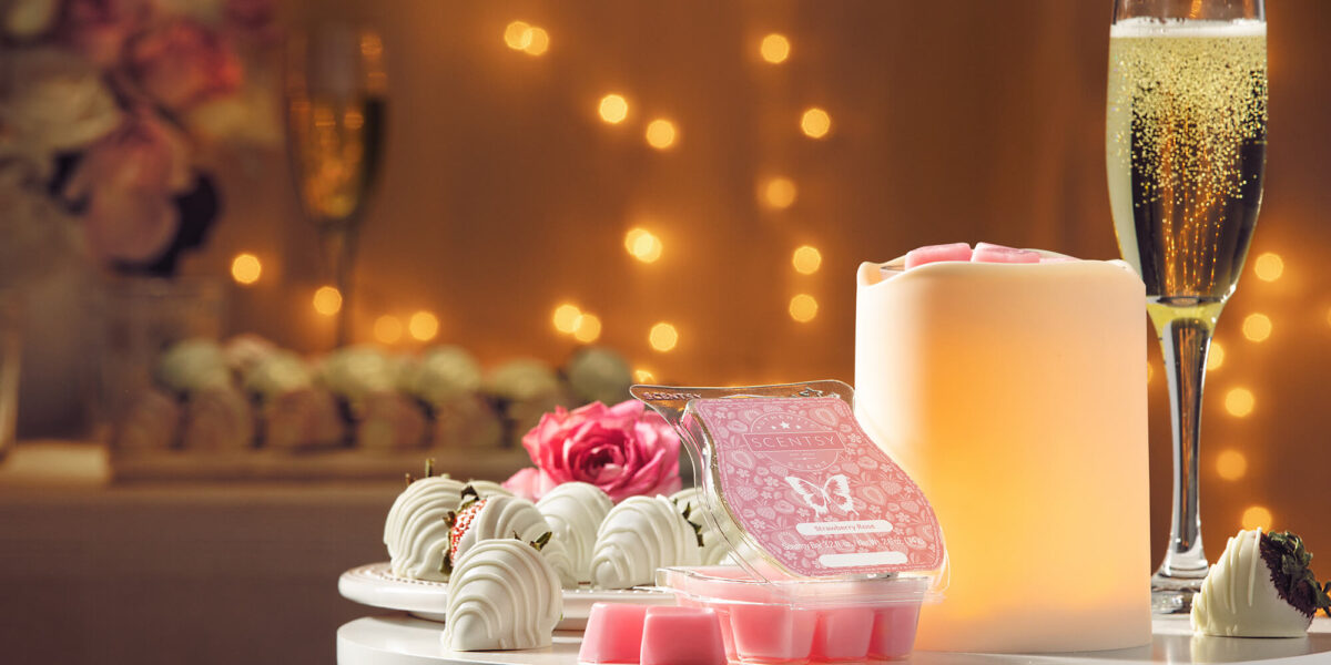 Scenty's February Warmer of the Month featuring the Strawberry Rose Scent Bar and the By The Candlelight warmer.