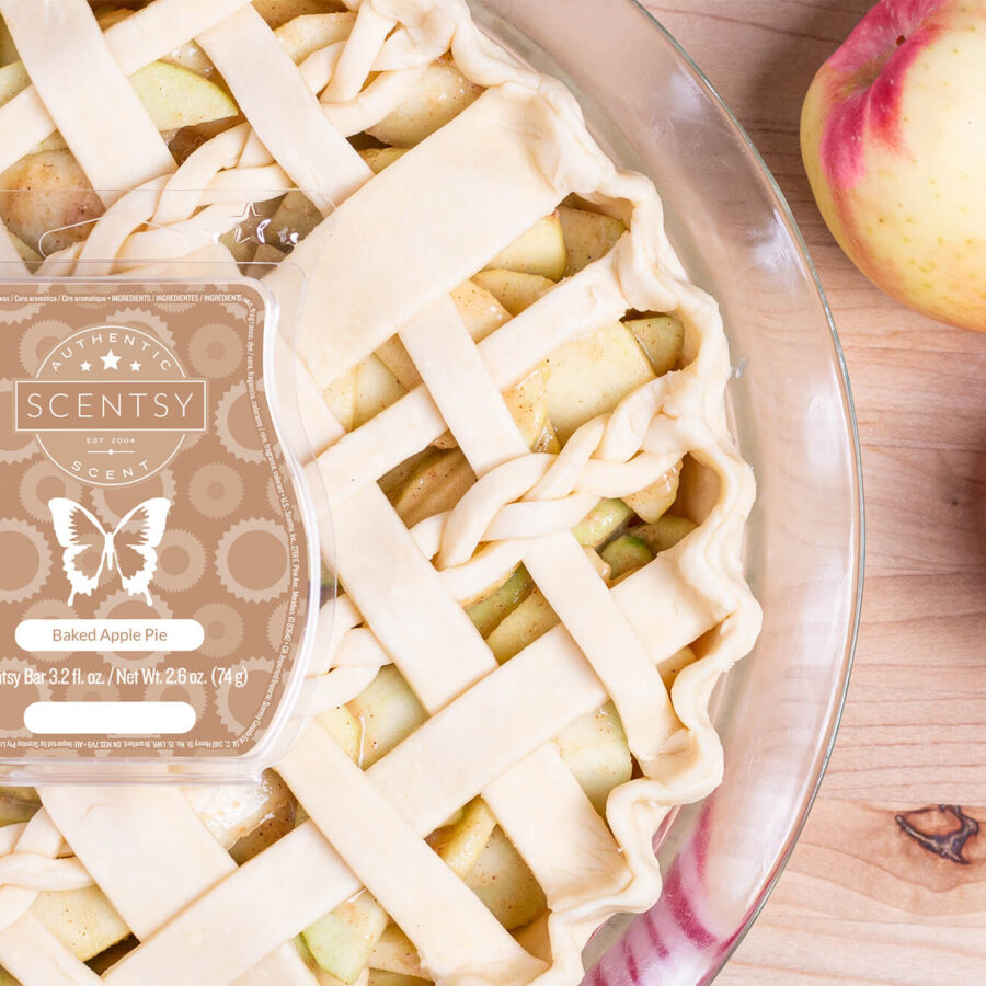 Scentsy's Baked Apple Pie wax bar on top of an apple pie