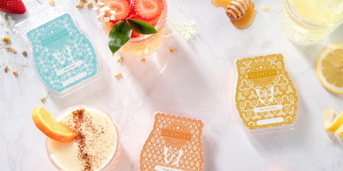 Scentsy's Now & Zen, Tropic Tango, and Bee My Honey Wax Bars with ingredients