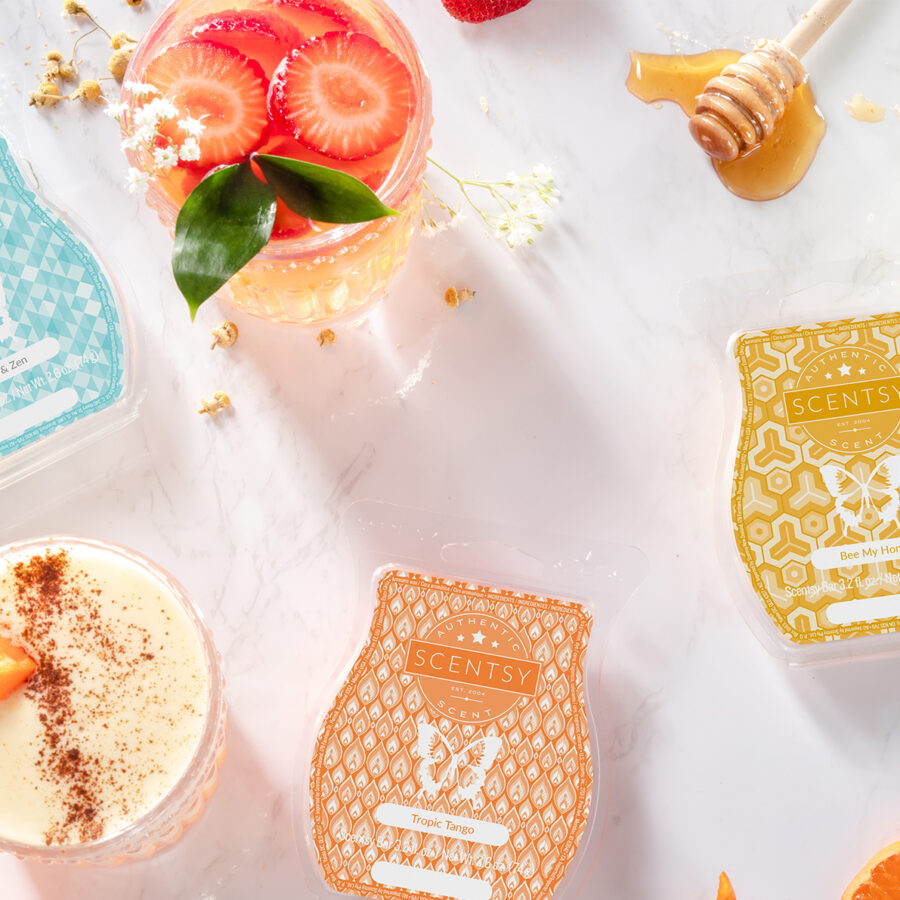 Scentsy's Now & Zen, Tropic Tango, and Bee My Honey Wax Bars with ingredients