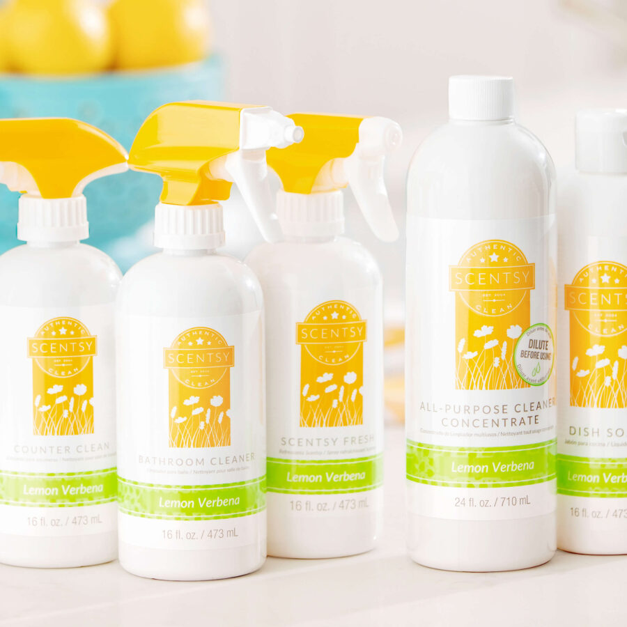 Scentsy Lemon Verbena bathroom cleaner, counter cleaner, dish soap, and all purpose cleaner