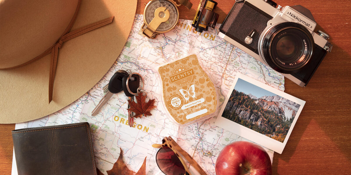 Stylized photo of Scentsy Autumn Road Trip wax bar