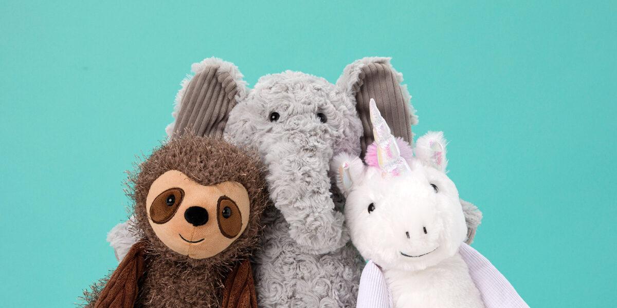 Eliza the Elephant, Suzie the Sloth, and Stella the Unicorn