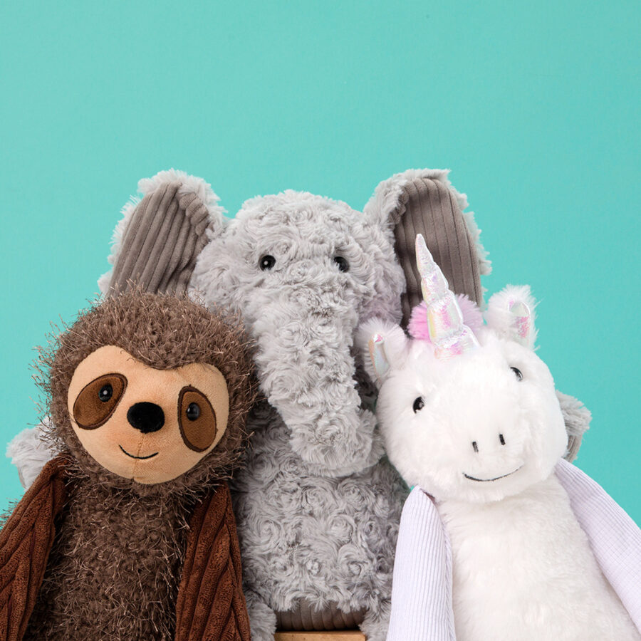 Eliza the Elephant, Suzie the Sloth, and Stella the Unicorn