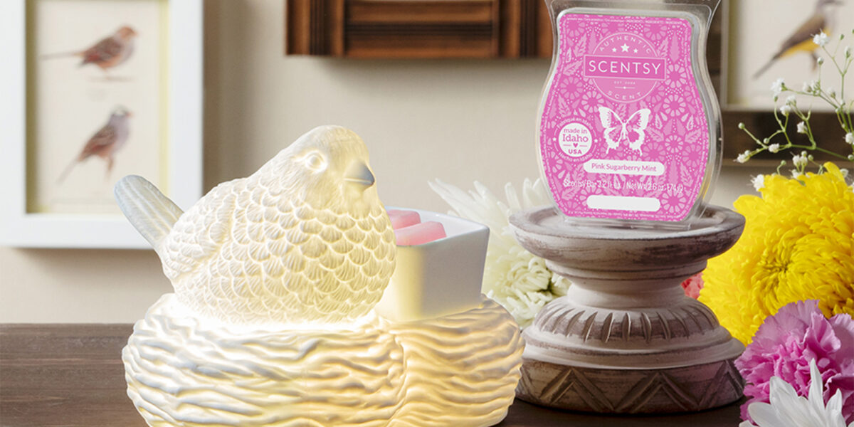 Scentsy's Warmer of the Month Birds of a Feather and Scent of the Month Pink Sugarberry Mist