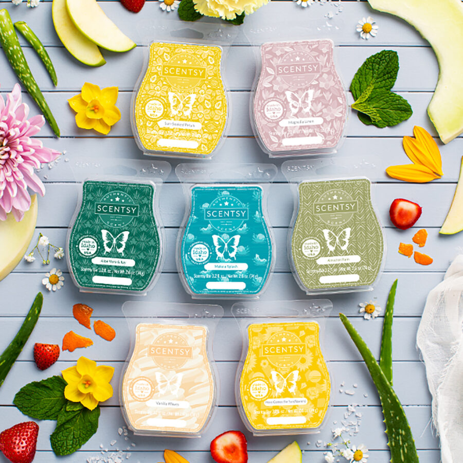 Scentsy celebrates International Fragrance Day with an image of various new Spring 2021 clamshells