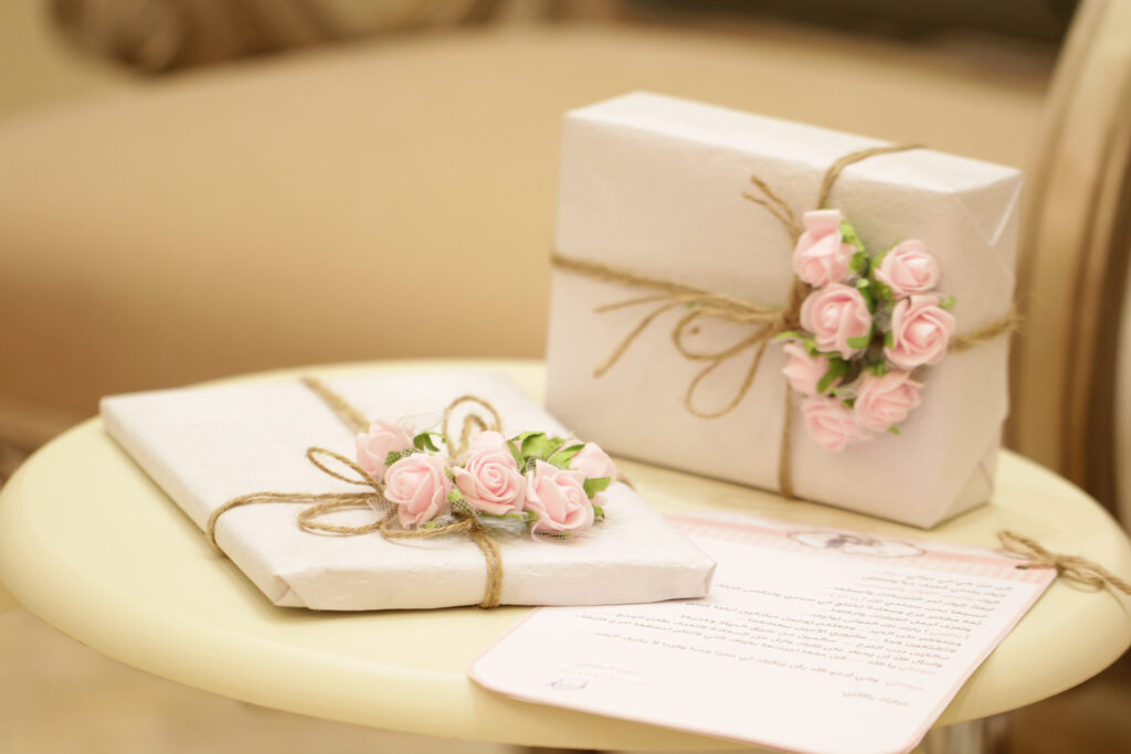 Wedding presents on a round tale with a list