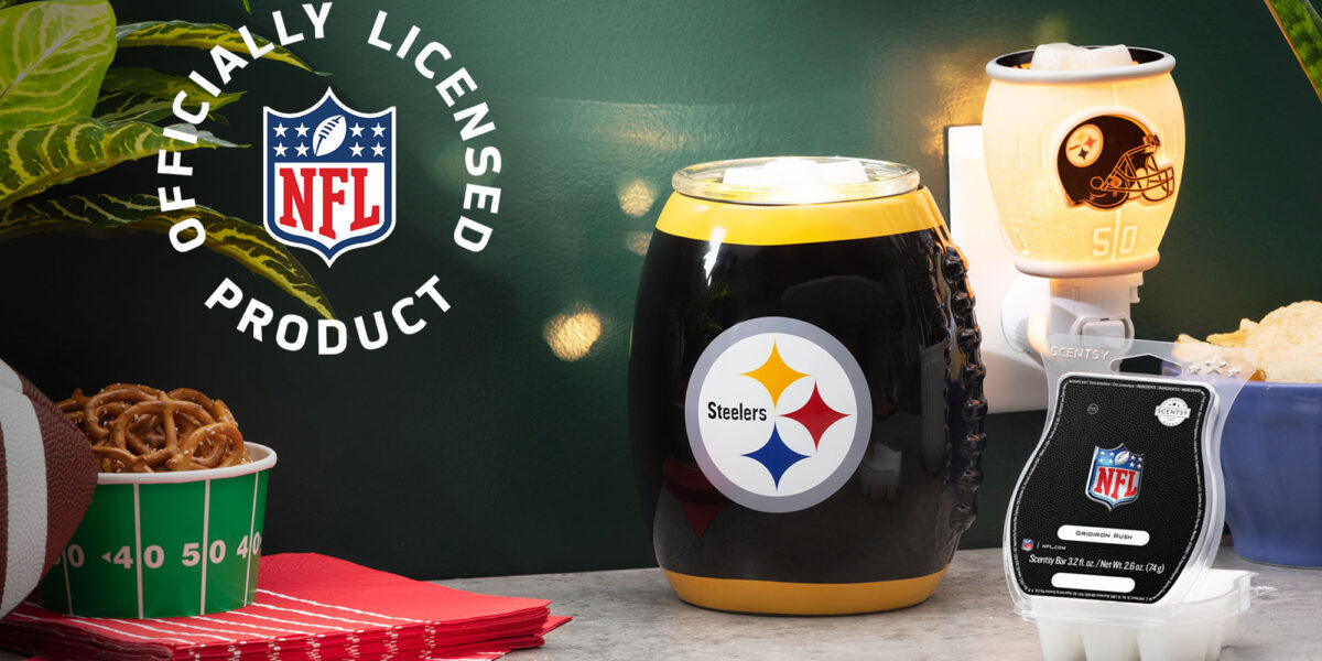 Scentsy's NFL collection featuring the Steeler's products and Gridiron Rush fragrance