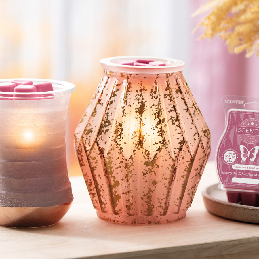 Scentsy Palette Warmer, Mirrored Rose, and Cashmere & Corduroy Wax