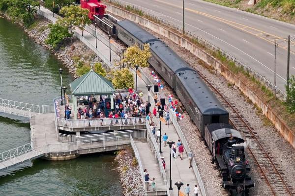 Riverfront tourist train.