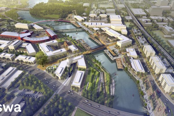 SWA Group's proposed development plan for Riverfront Fort Wayne prominently features Headwaters Junction.