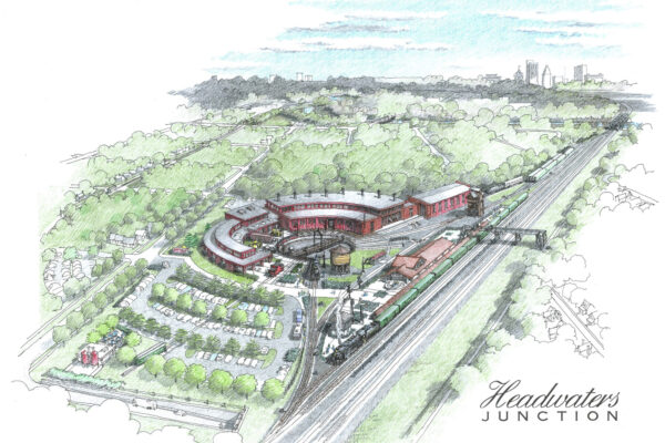 An artist's rendering of Headwaters Junction shows one of the most popular development plans for Riverfront Fort Wayne.