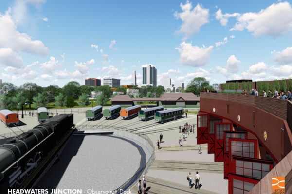 An architect's rendering of Headwaters Junction shows one of the most popular development plans for Riverfront Fort Wayne.