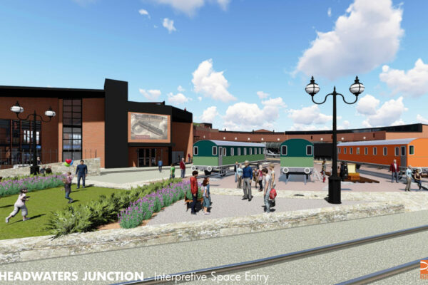 An architect's rendering of Headwaters Junction near Riverfront Fort Wayne.