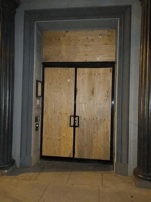 board up doors