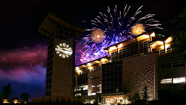 Fireworks above the Scentsy Headquarters in Meridian, Idaho.
