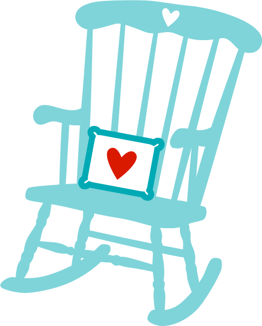Rocking Chair with decorative heart pillow.