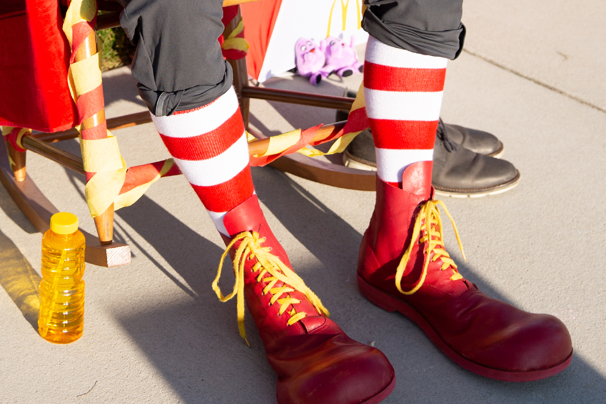 Red clown shoes