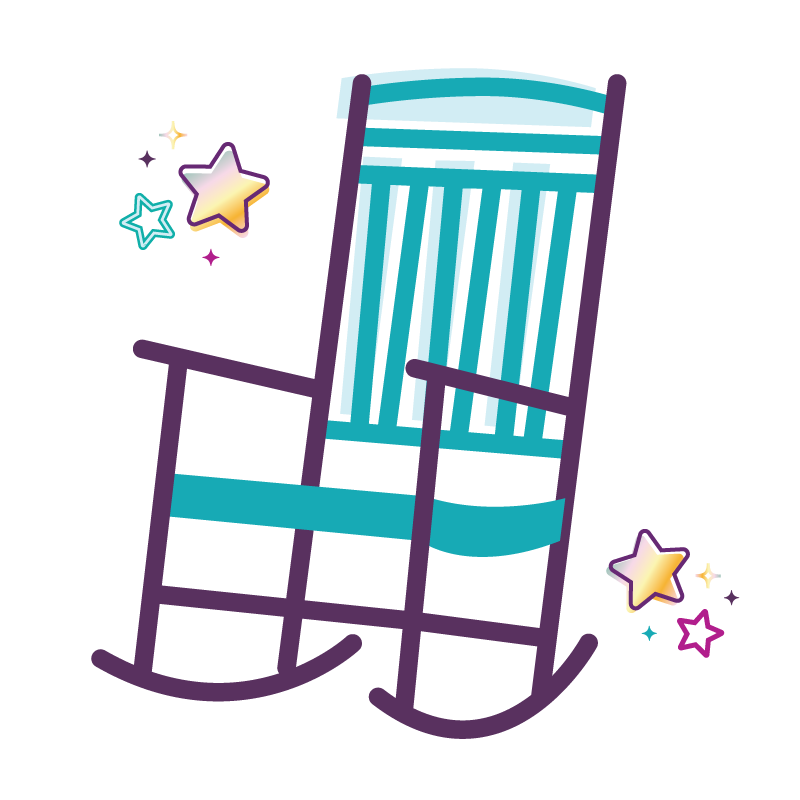 colorful rocking chair and stars