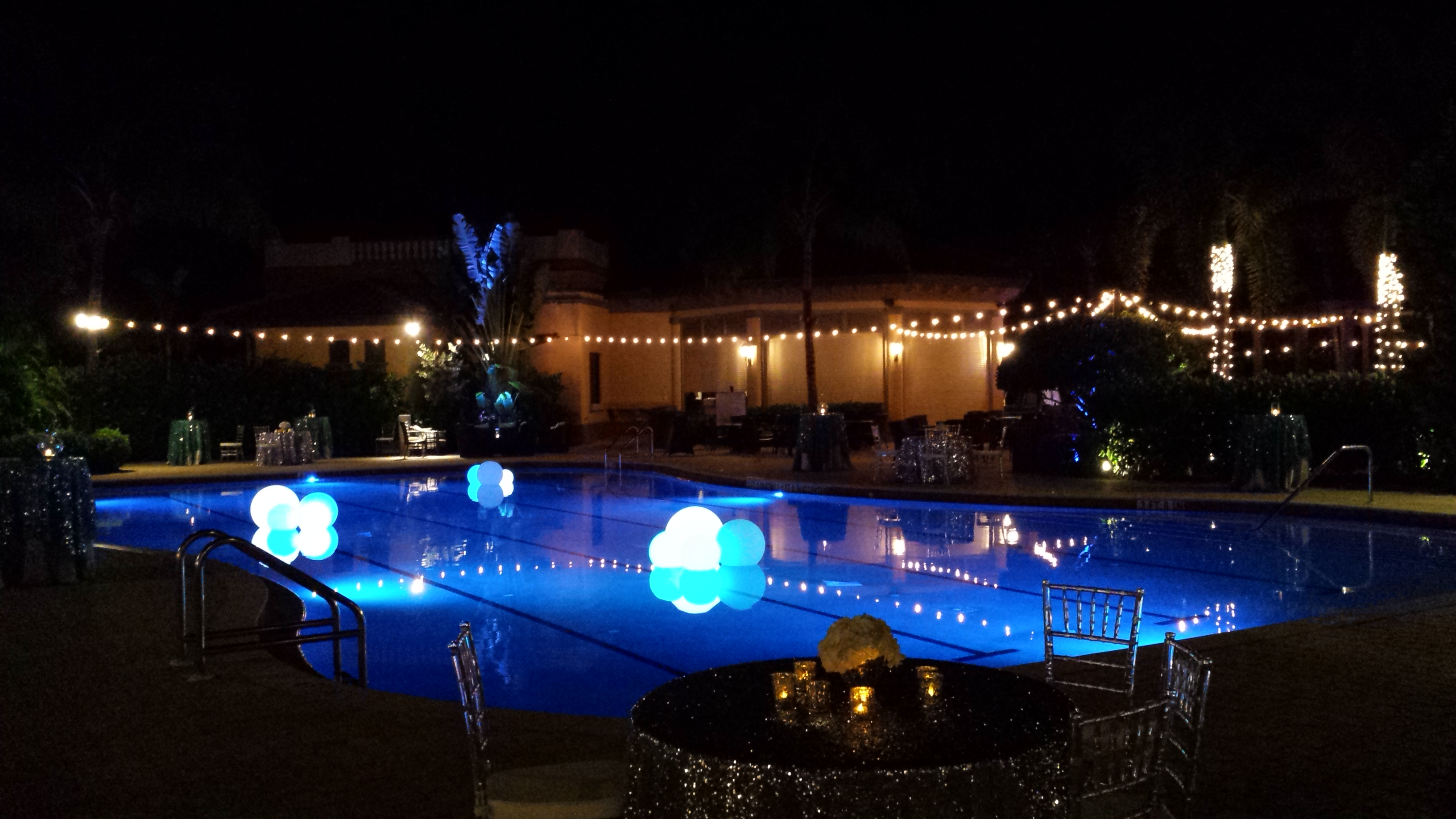 Anna Lucia Hurley Stock Wedding- Pool lights and string lights
