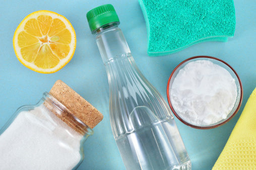 Consider opting for natural cleaning tools, like mold soap and vinegar, the next time you tidy up!