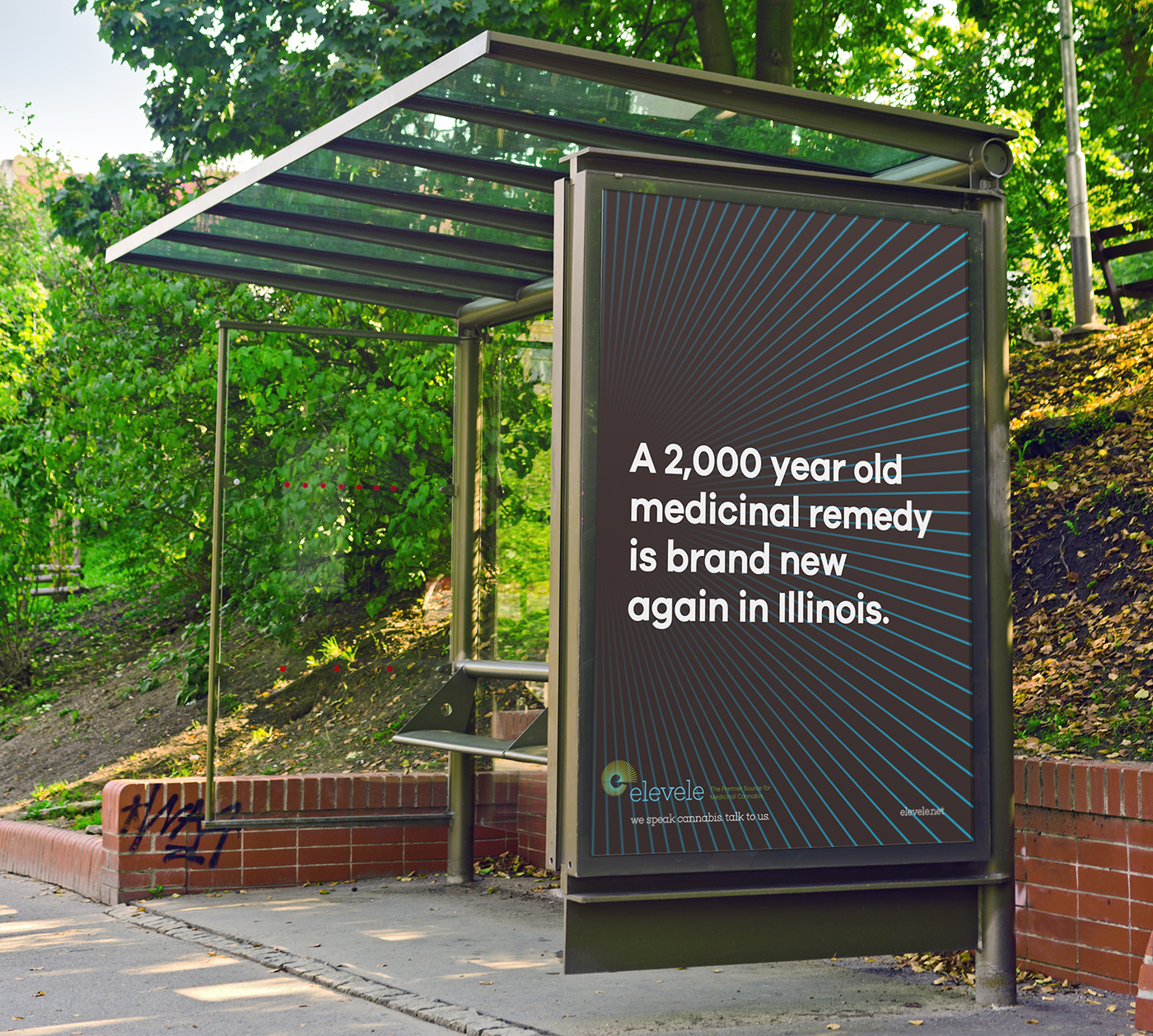 Empty bus shelter with blank poster as copy space