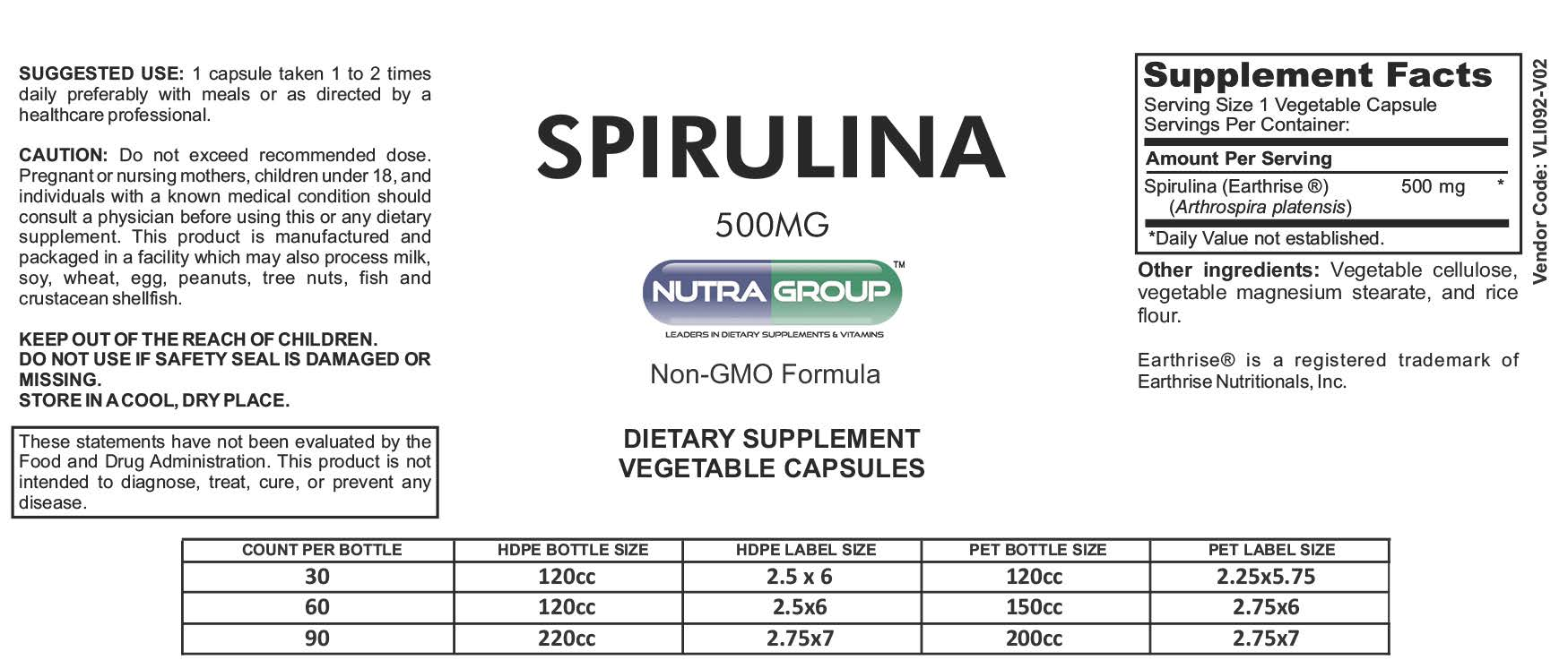 Private Label Spirulina capsules