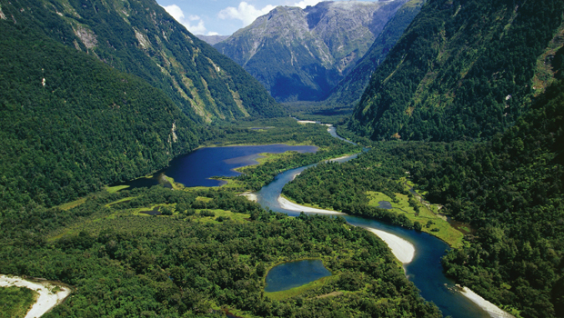 New Zealand, South Island, Te Wahipounamu, Fiordland National Park, Milford Track, river Arthur