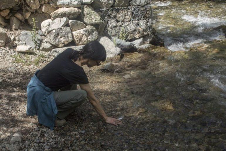 Harumi Takikawa Dorrance cools off at Columbine Creek.