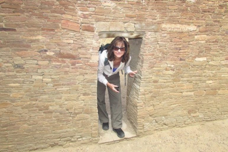 Hiking columnist Cindy Brown at Pueblo Bonito in Chaco Canyon.