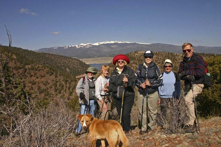 Members of the Moreno Valley Trekkers Hike Tolby Meadows in 2007. Herb Kalen is on the right and Kathy Kalen is second form the left.